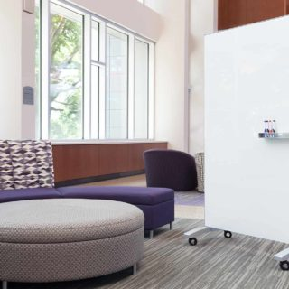 White go! Mobile rolling glassboard in collaboration space
