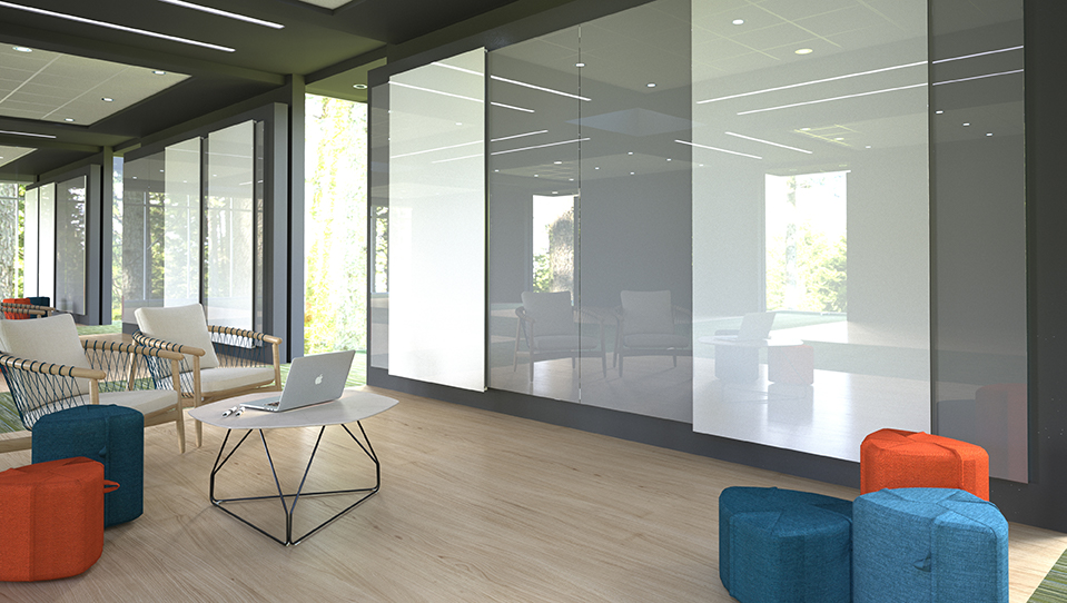 Clarus Glide sliding glass panels with flexible seating options