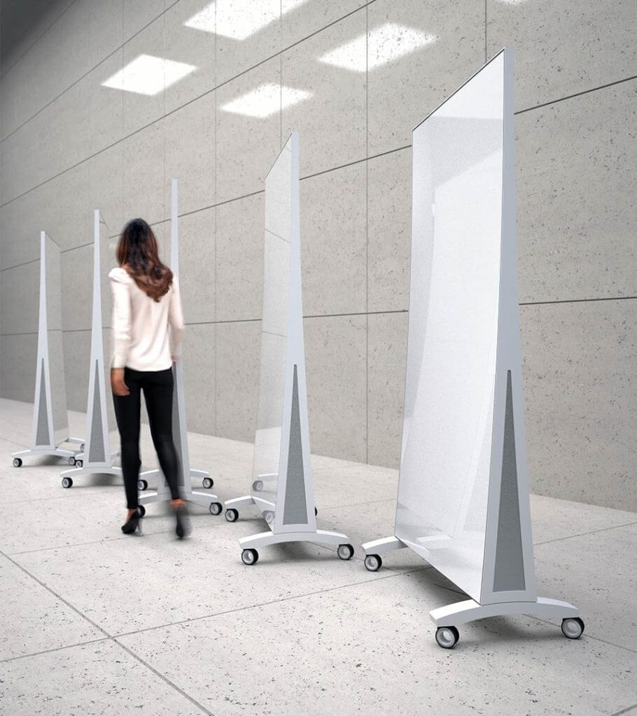 Lady with Flex™ Mobile rolling glassboard on wheels