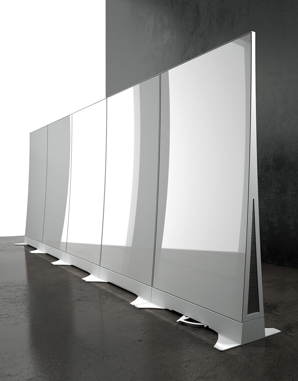 Flex Wall Side insert panel shown in standard Brushed Aluminum